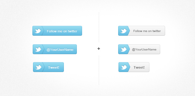 Follow Me On Twitter Buttons PSD