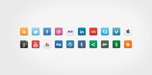 DC Social Icons &#8211; Set of 20 Clean Icons