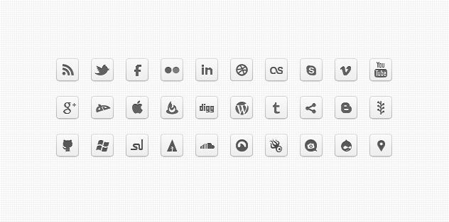 Mono DC – Monochrome Social Icons